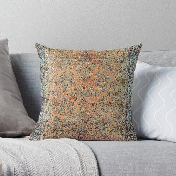 Manchester Kashan Floral Persian Carpet Print Throw Pillow