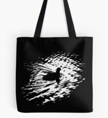 Coot, silhouette as swimming on a pond Tote Bag