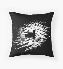 Coot, silhouette as swimming on a pond Throw Pillow