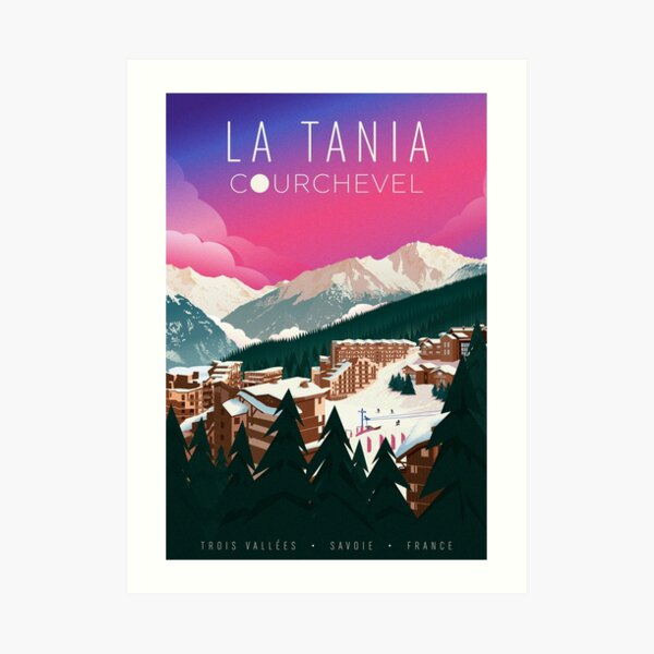 A travel poster of the ski resort La Tania, in the Trois Vallées, France. Art Print