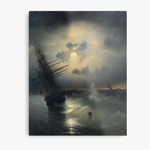 Sailing Ship on the High Seas by Moonlight by Ivan Aivazovsky Metal Print
