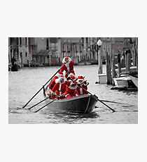 Santa's on a Venetian Gondola !!  (2) Photographic Print