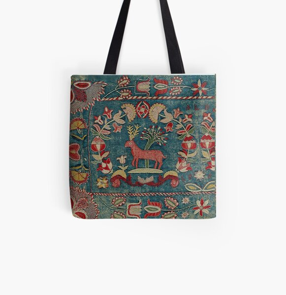 ANTIQUE  RED BLUE SWEDISH TAPESTRY WITH DEERS AND FLOWERS  All Over Print Tote Bag