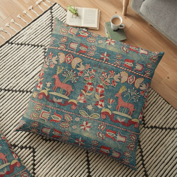 ANTIQUE  RED BLUE SWEDISH TAPESTRY WITH DEERS AND FLOWERS  Floor Pillow