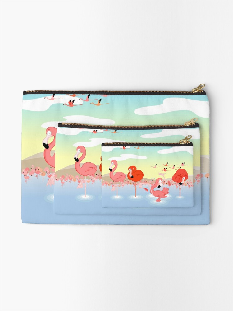 Alternate view of Flamingos Zipper Pouch