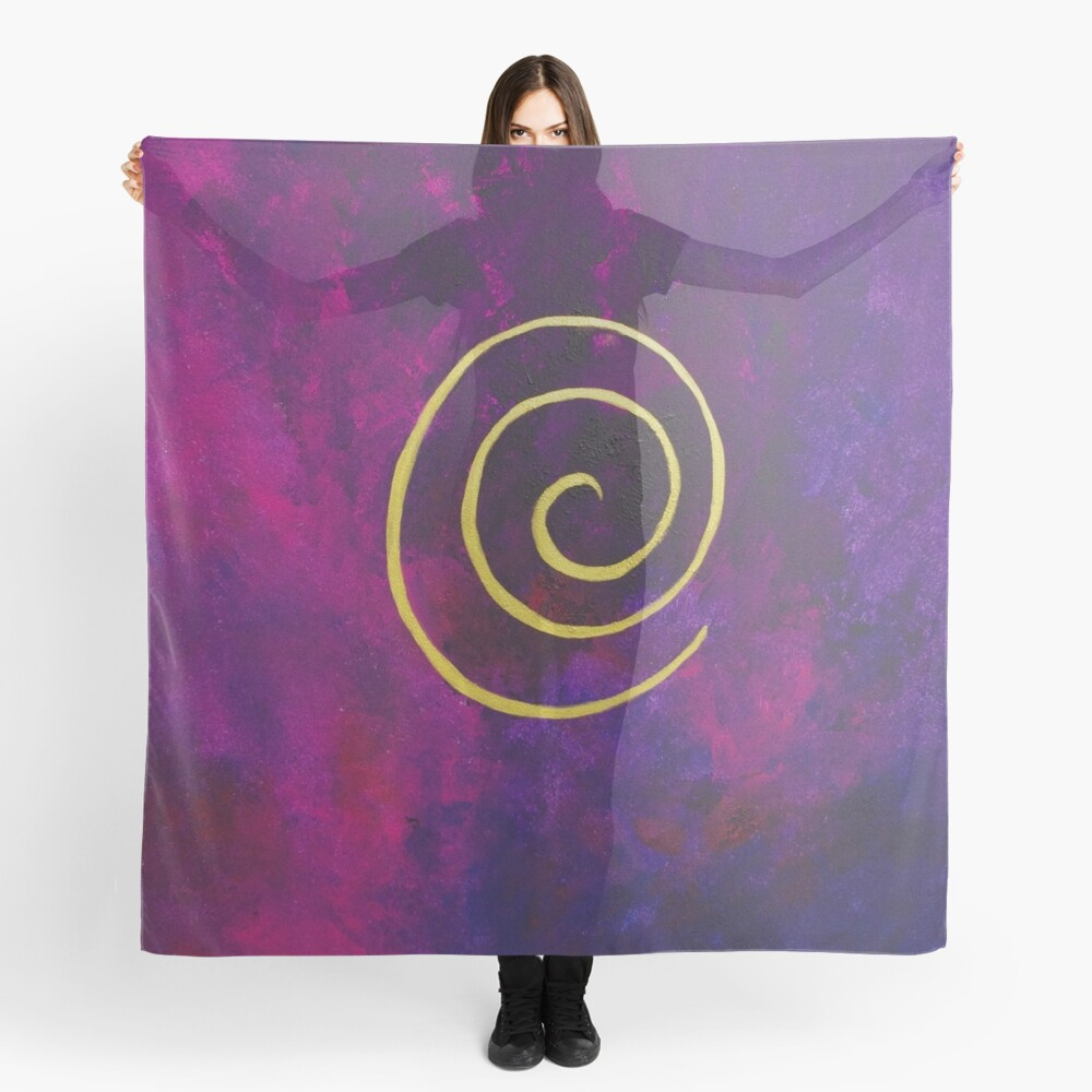 Philip Bowman Deep Purple And Gold Modern Abstract Art Scarf