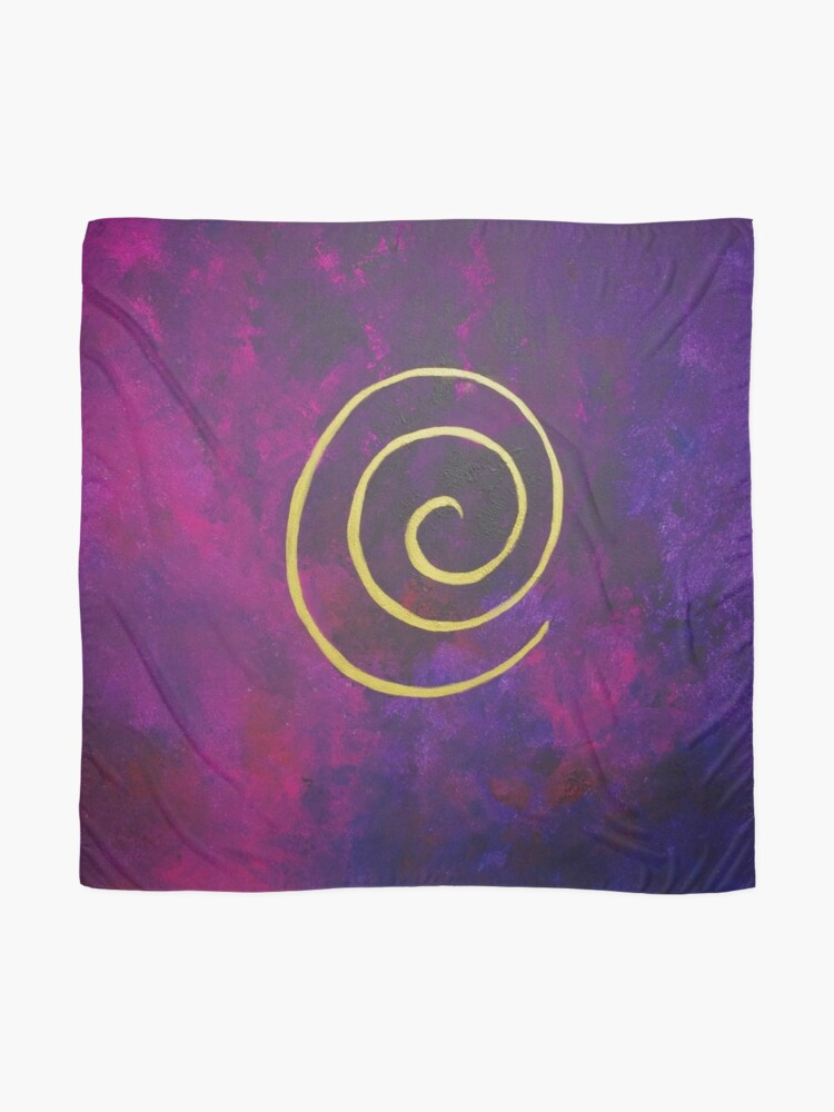 Alternate view of Philip Bowman Deep Purple And Gold Modern Abstract Art Scarf