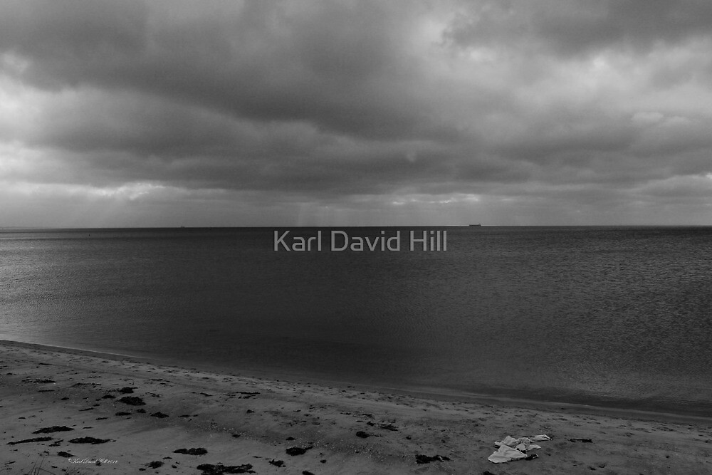 Distant shore 001 (black and white version) by Karl David Hill