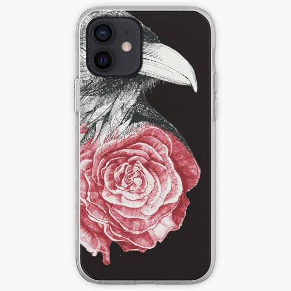 Crow and Rose Flower iPhone Soft Case