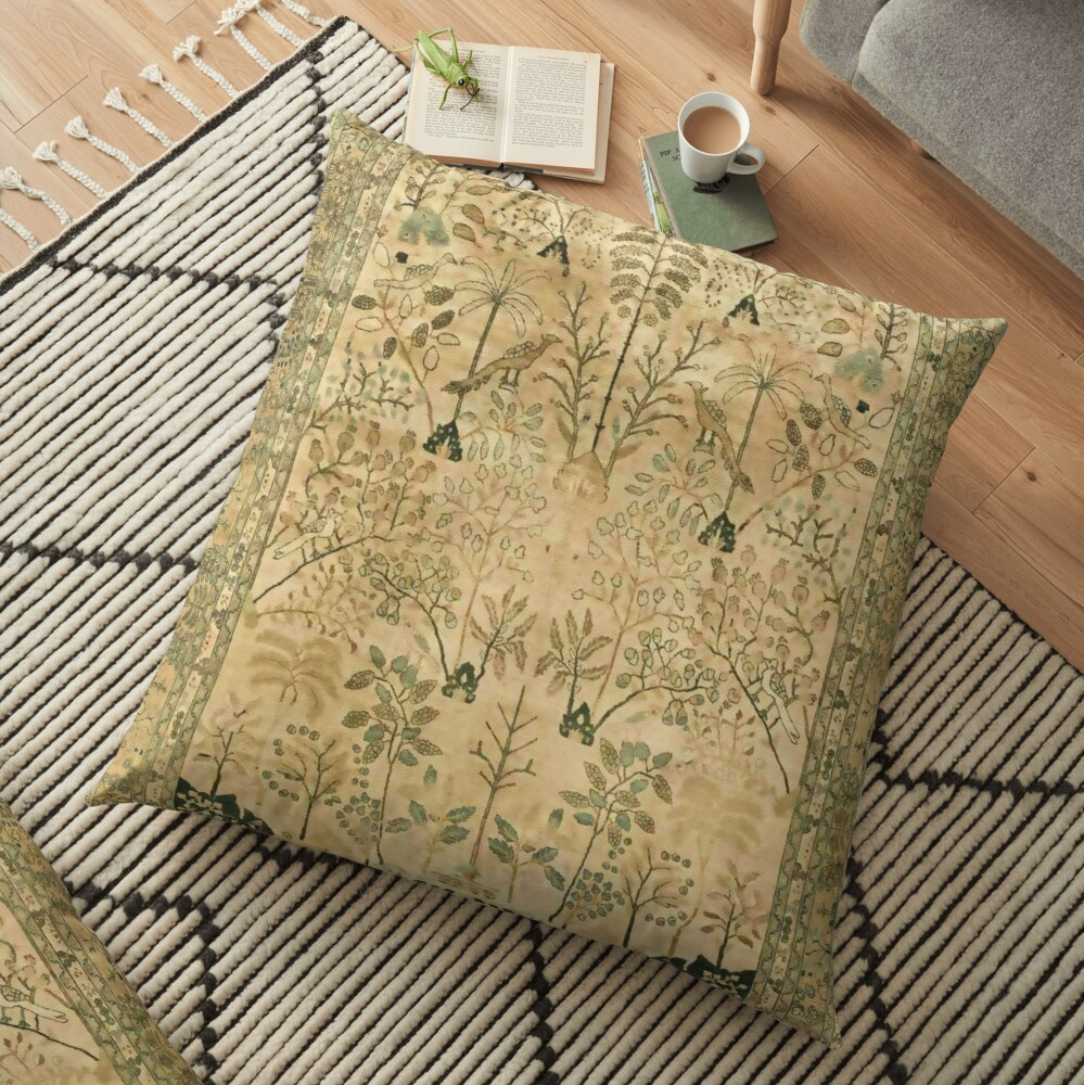 Antique Persian Meshad Rug Print Floor Pillow