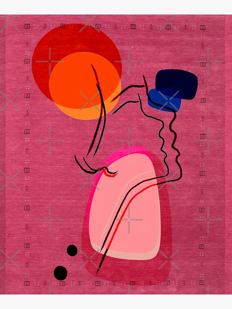 Pink Abstract Berber Moroccan Style Artwork. by Arteresting