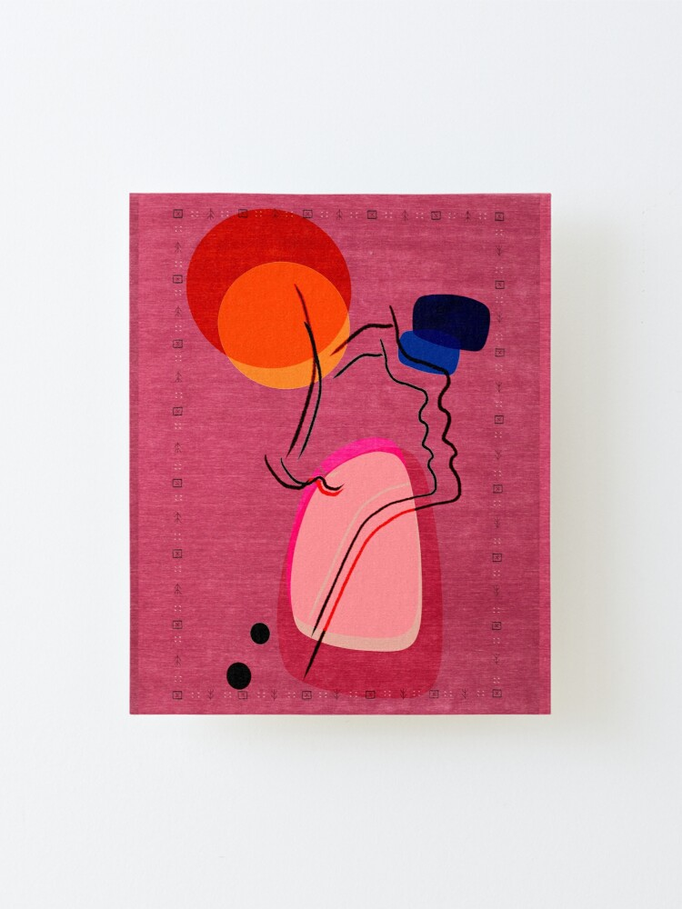 Alternate view of Pink Abstract Berber Moroccan Style Artwork. Mounted Print