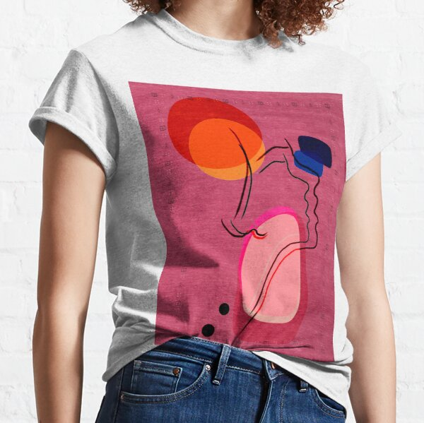 Pink Abstract Berber Moroccan Style Artwork. Classic T-Shirt