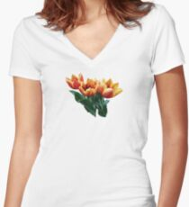Three Orange and Red Tulips Women's Fitted V-Neck T-Shirt