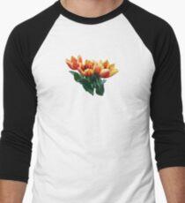 Three Orange and Red Tulips Men's Baseball ¾ T-Shirt