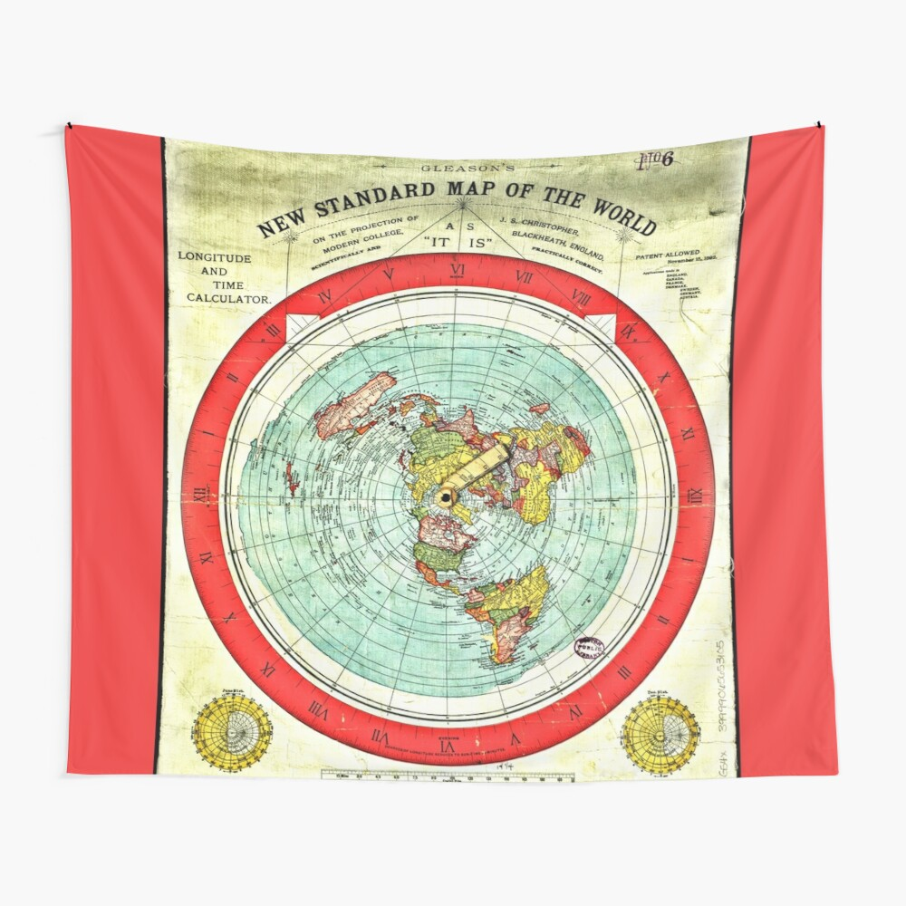 Gleason 1892 Flat Earth Map Research Flat Earth Tapestry By