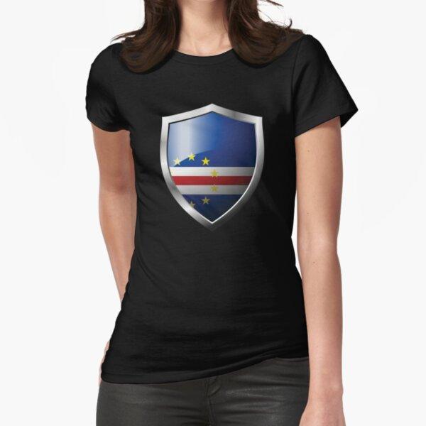 Drapeau du Cabo Verde fort Bouclier Pays T-shirt moulant
