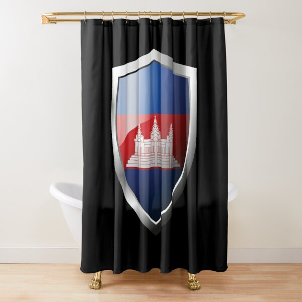 Strong Cambodia Flag Shield Country Shower Curtain