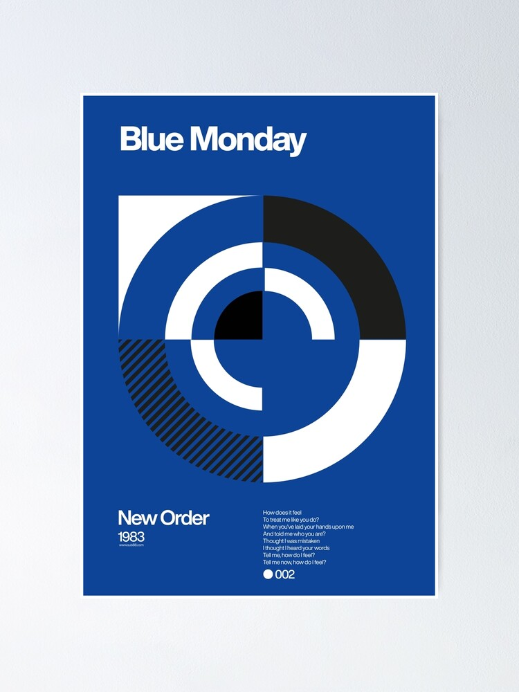 Alternate view of Blue Monday - New Order Typographic Poster Poster