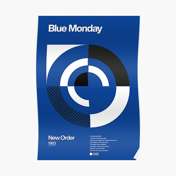 Blue Monday - New Order Typographic Poster Poster