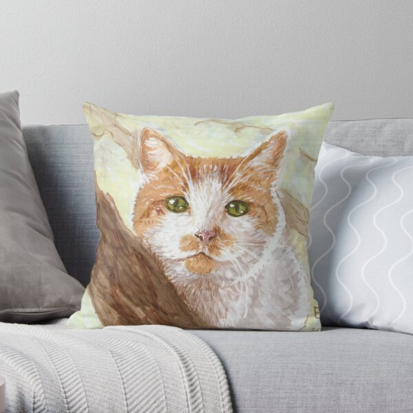 Cat In A Tree Throw Pillow