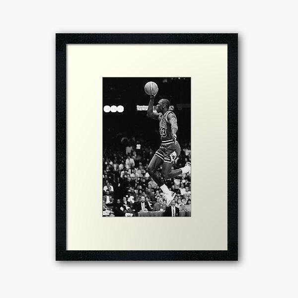 Black and White Michael Jordan Dunking Framed Art Print