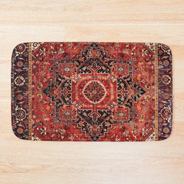 Heriz Antique Vintage Boho Persian Carpet Print Bath Mat