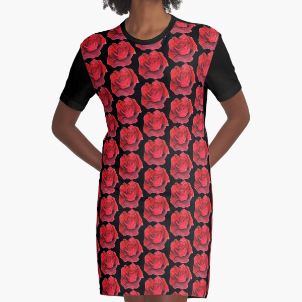 Red Rose Graphic T-Shirt Dress