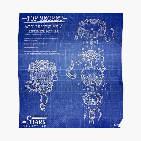 ARC Reactor Disassembled Blueprints Poster