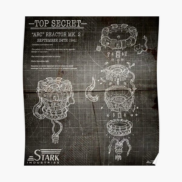 ARC Reactor Disassembled Blueprints (Dark Version) Poster