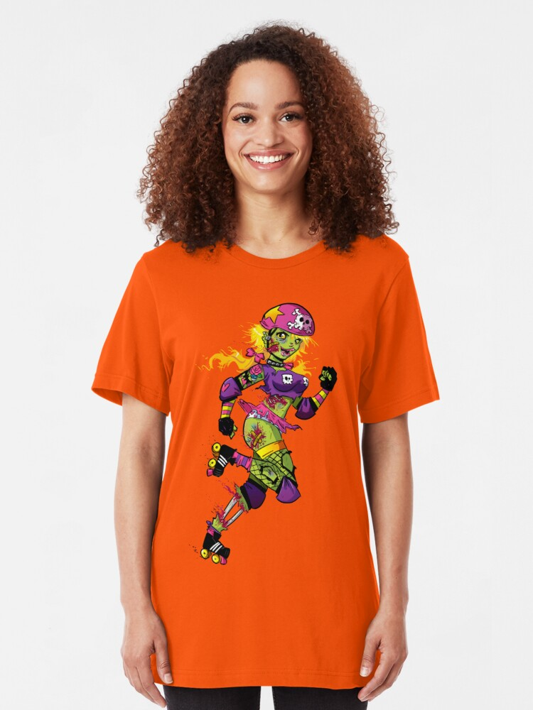 Alternate view of Zombie Derby Doll Slim Fit T-Shirt