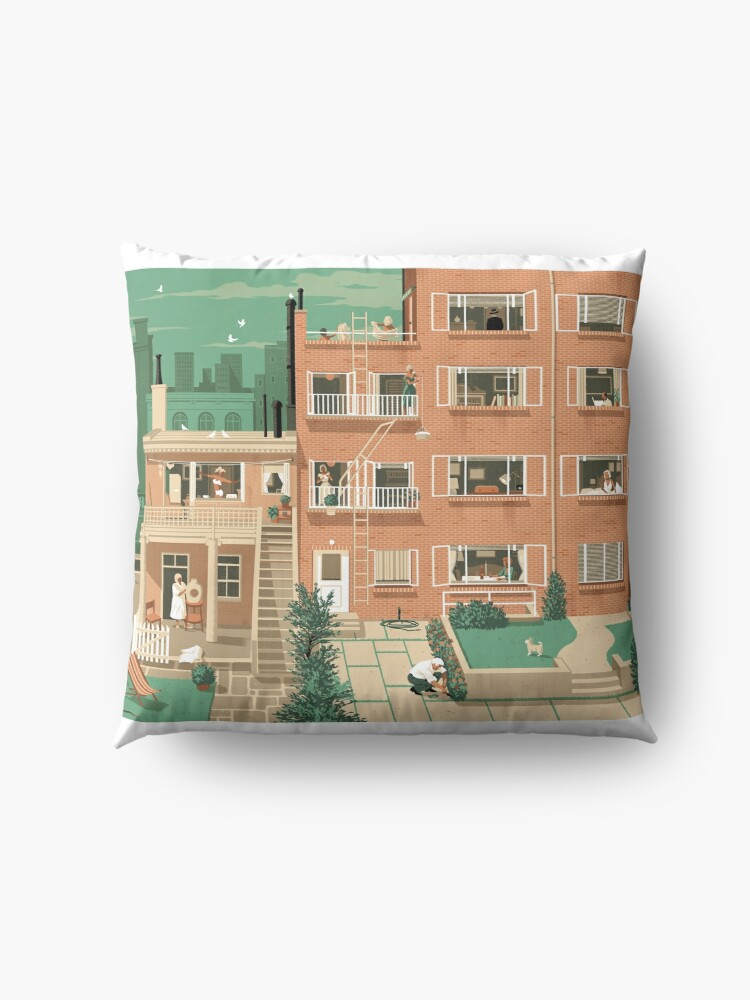 Alternate view of Travel Posters - Hitchcock's Rear Window - Greenwitch Village New York Floor Pillow