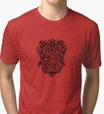 Bracer Knot A - Celtic Knotwork - Black Tri-blend T-Shirt