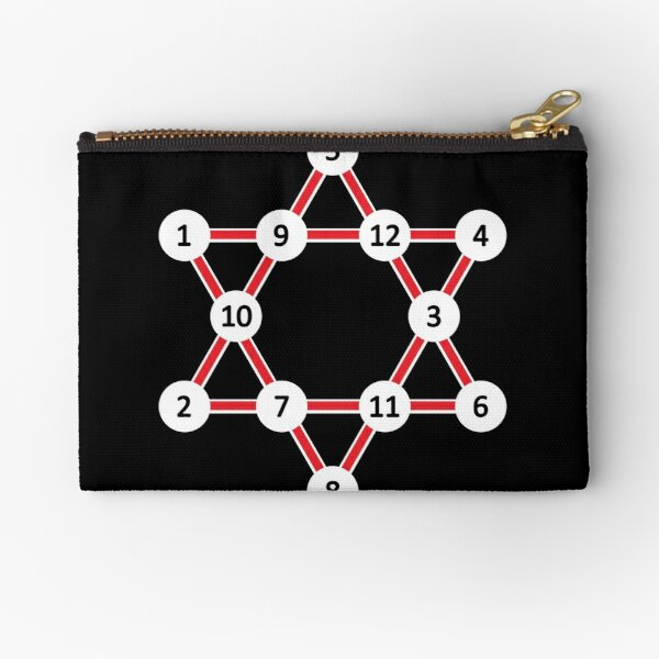 Super Magic Star Red with Numbers Zipper Pouch