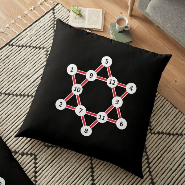 Super Magic Star Red with Numbers Floor Pillow