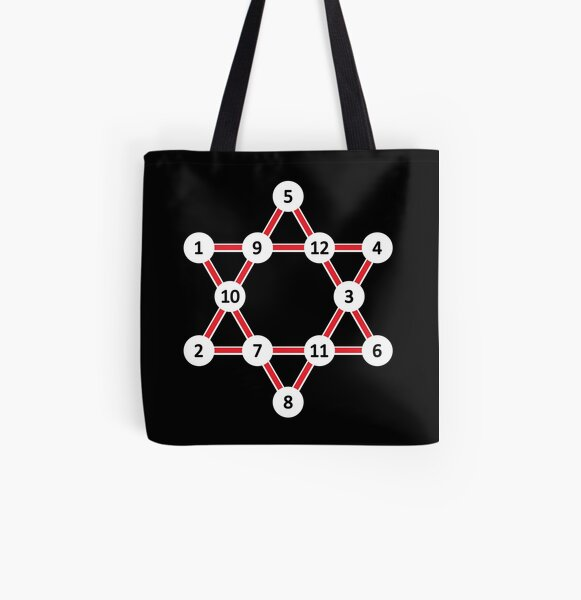 Super Magic Star Red with Numbers All Over Print Tote Bag