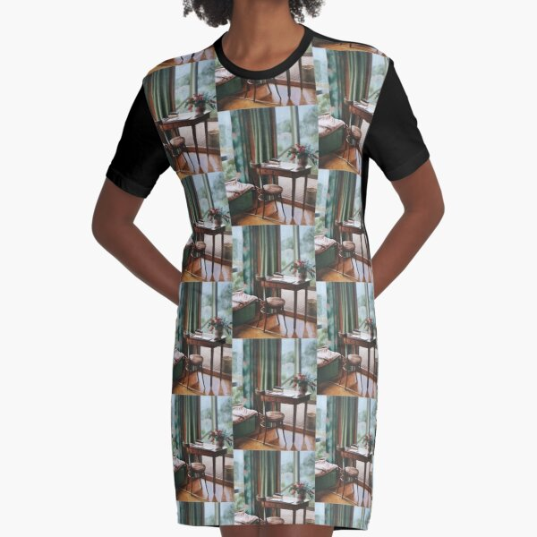 At the Gramps - Oil painting on canvas Graphic T-Shirt Dress