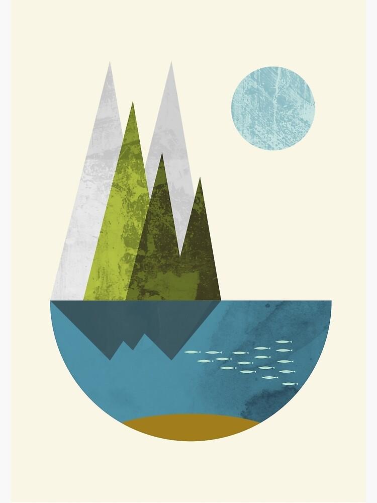 Earth, geometric print by FLATOWL