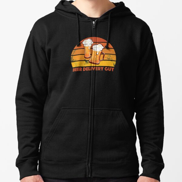 Beer Delivery Guy Funny Distressed Zipped Hoodie