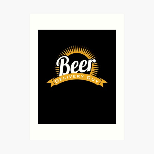 Beer Delivery Guy Funny Logo Art Print