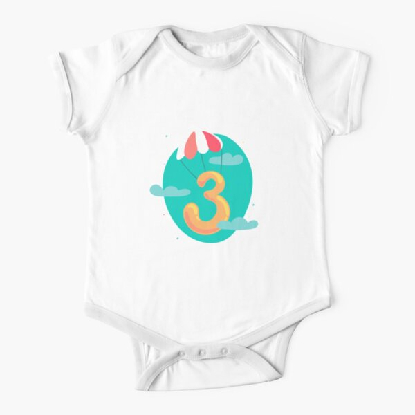 Colourful Number 3 (Three) Short Sleeve Baby One-Piece