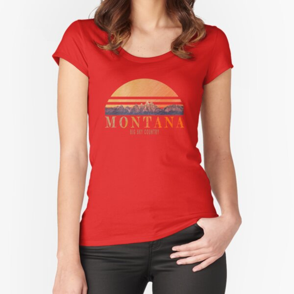 Vintage Montana mountians design Fitted Scoop T-Shirt