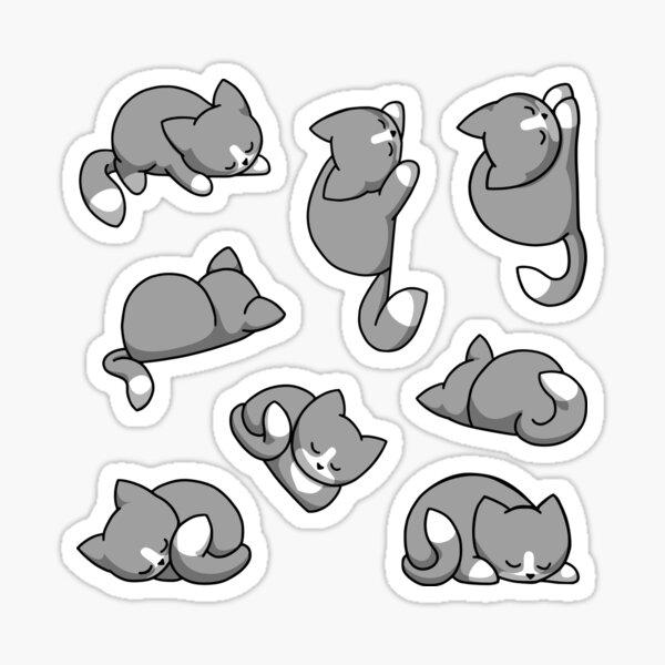 Sticker Set Katzen - Grau mit Masken Sticker