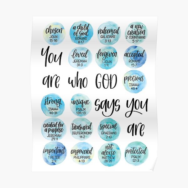You are who God says you are - Identity in Christ artwork Poster