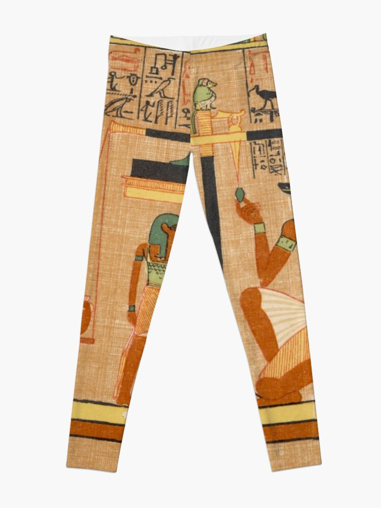 Alternate view of Egyptian Art: Weighing of the Heart in the Duat using the feather of Maat as the measure in balance Leggings