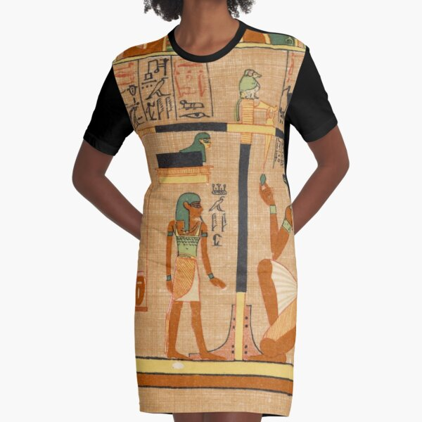 Egyptian Art: Weighing of the Heart in the Duat using the feather of Maat as the measure in balance Graphic T-Shirt Dress