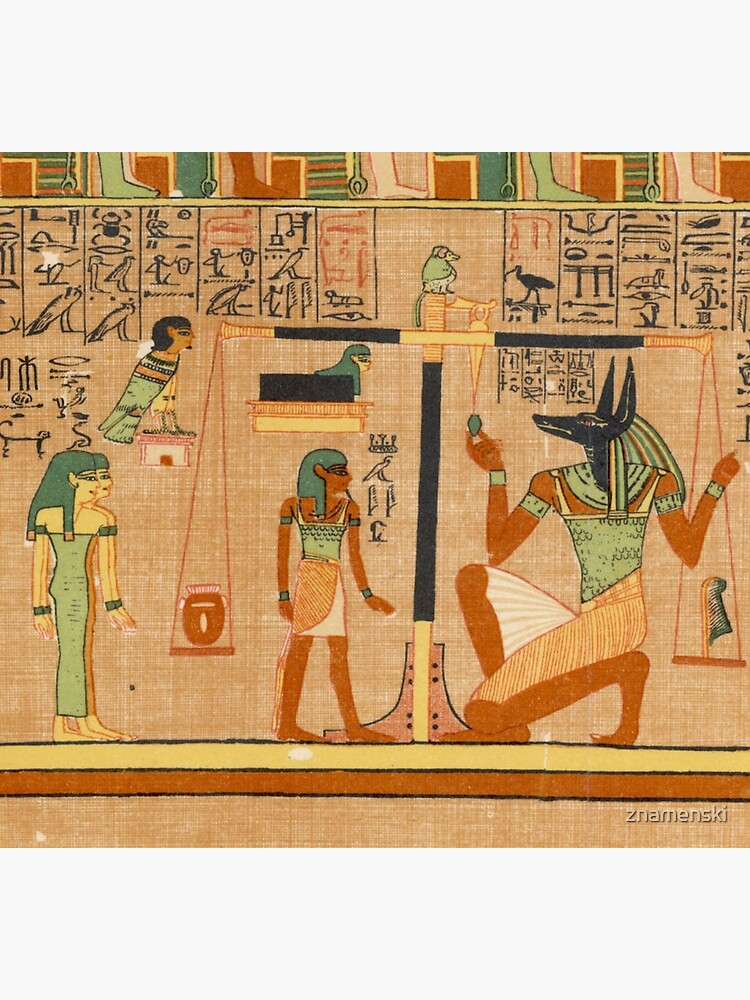 Egyptian Art: Weighing of the Heart in the Duat using the feather of Maat as the measure in balance by znamenski