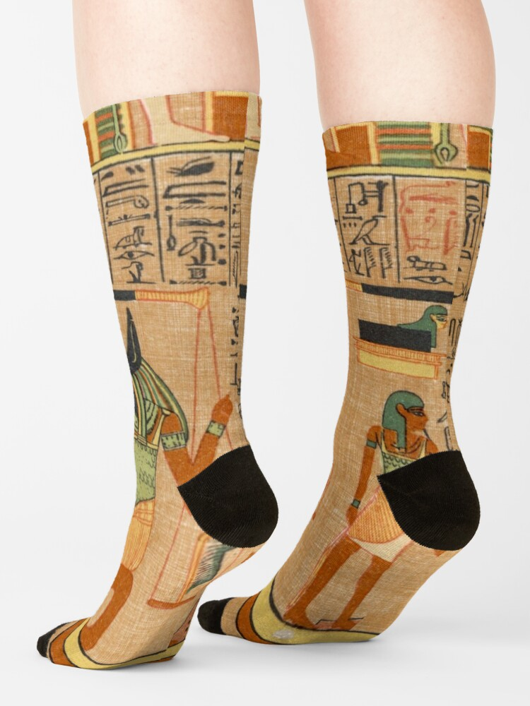 Alternate view of Egyptian Art: Weighing of the Heart in the Duat using the feather of Maat as the measure in balance Socks