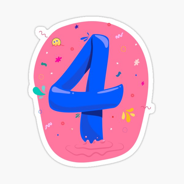 Colourful Number 4 (Four) Sticker