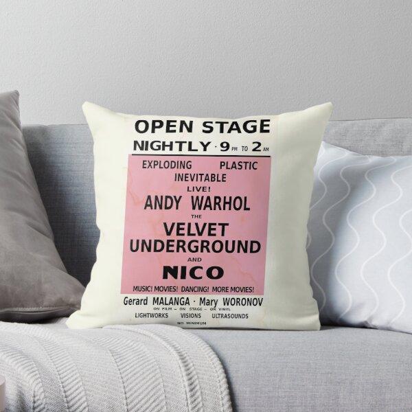 VELVET UNDERGROUND NICO ANDY WARHOL VINTAGE POSTER Throw Pillow